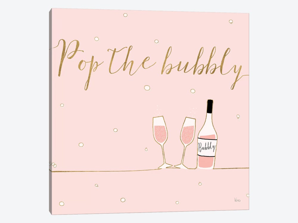 Underlined Bubbly VII Pink 1-piece Canvas Art