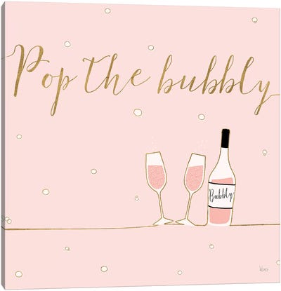 Underlined Bubbly VII Pink Canvas Art Print