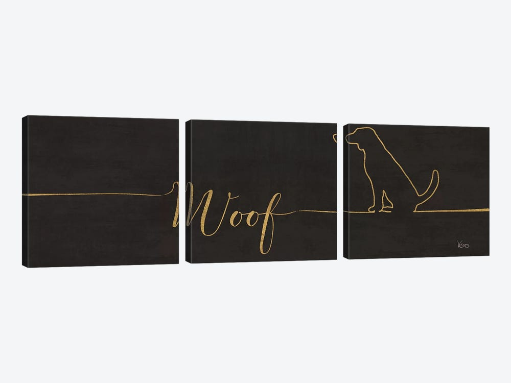 Underlined Dogs IV Black by Veronique Charron 3-piece Canvas Art