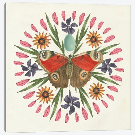 Butterfly Mandala II Canvas Print #WAC8335} by Wild Apple Portfolio Canvas Artwork