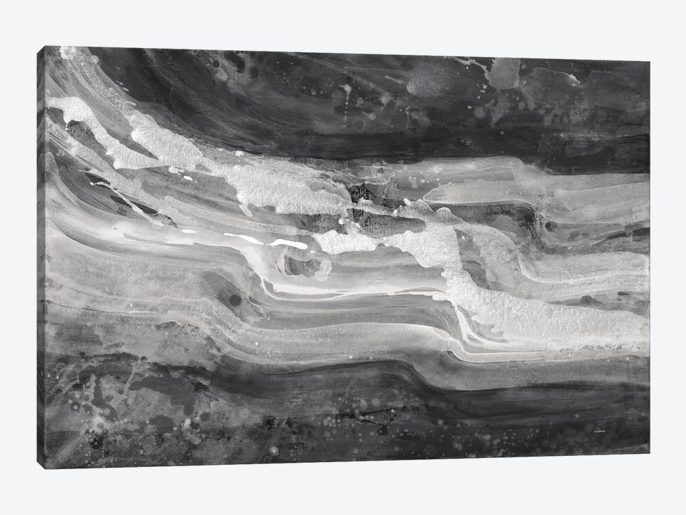 Currents, Gray & Black & White 1-piece Canvas Wall Art