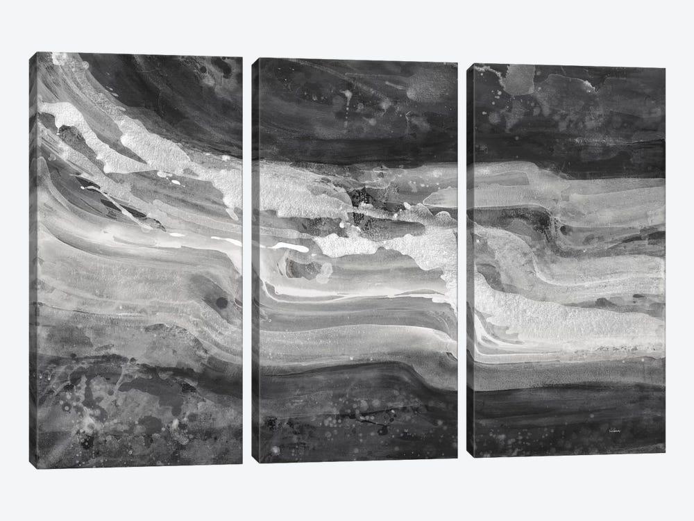 Currents, Gray & Black & White by Albena Hristova 3-piece Canvas Wall Art