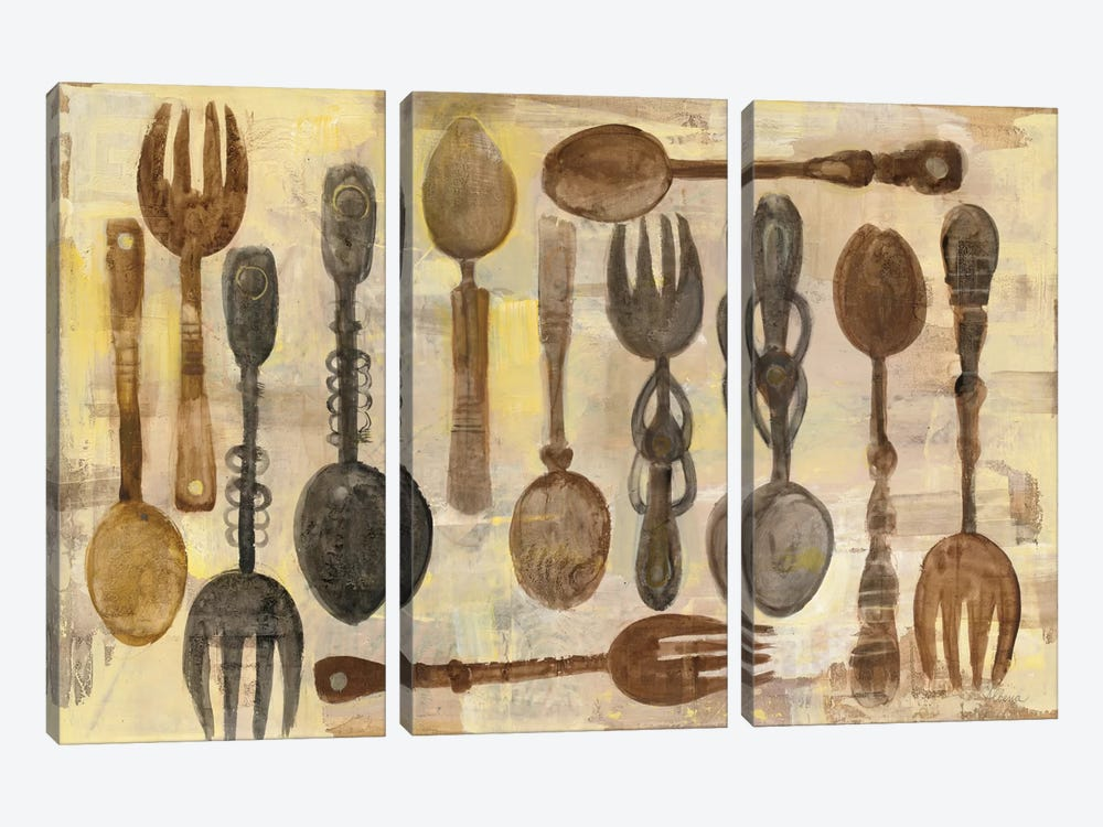 Spoons And Forks by Albena Hristova 3-piece Canvas Print