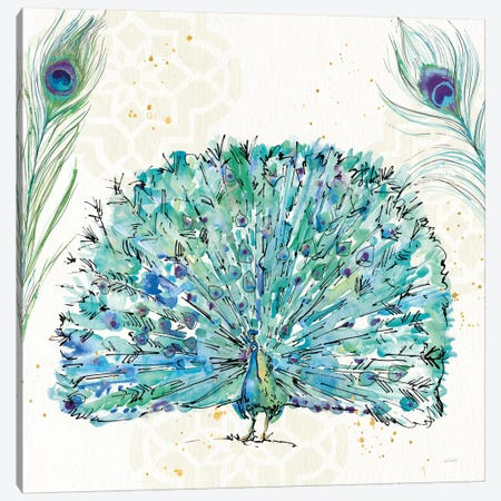 Peacock Garden IX Canvas Print #WAC8368} by Anne Tavoletti Canvas Artwork