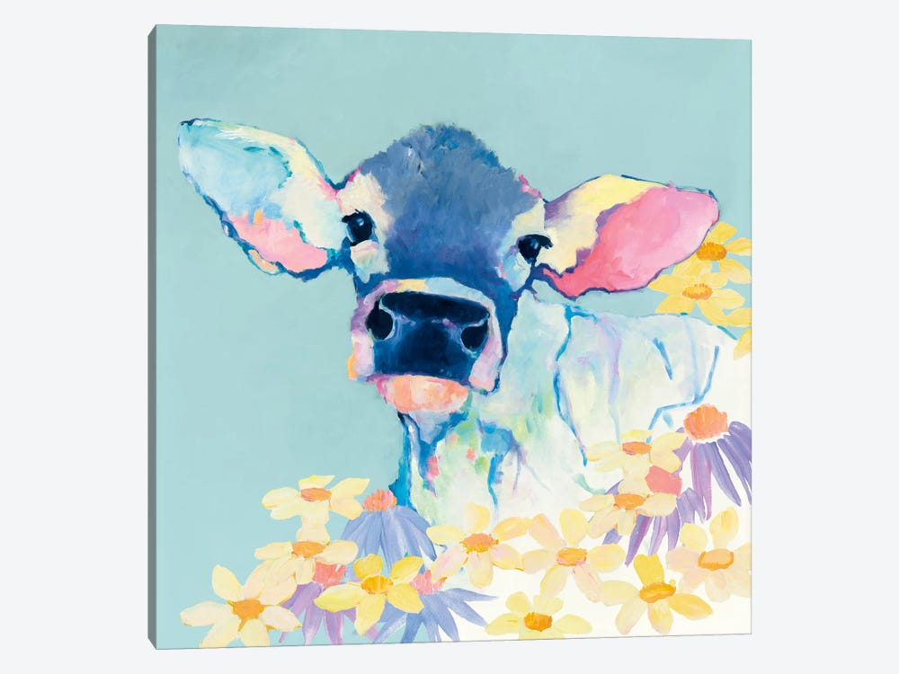 Bessie With Flowers On Teal by Avery Tillmon 1-piece Canvas Wall Art