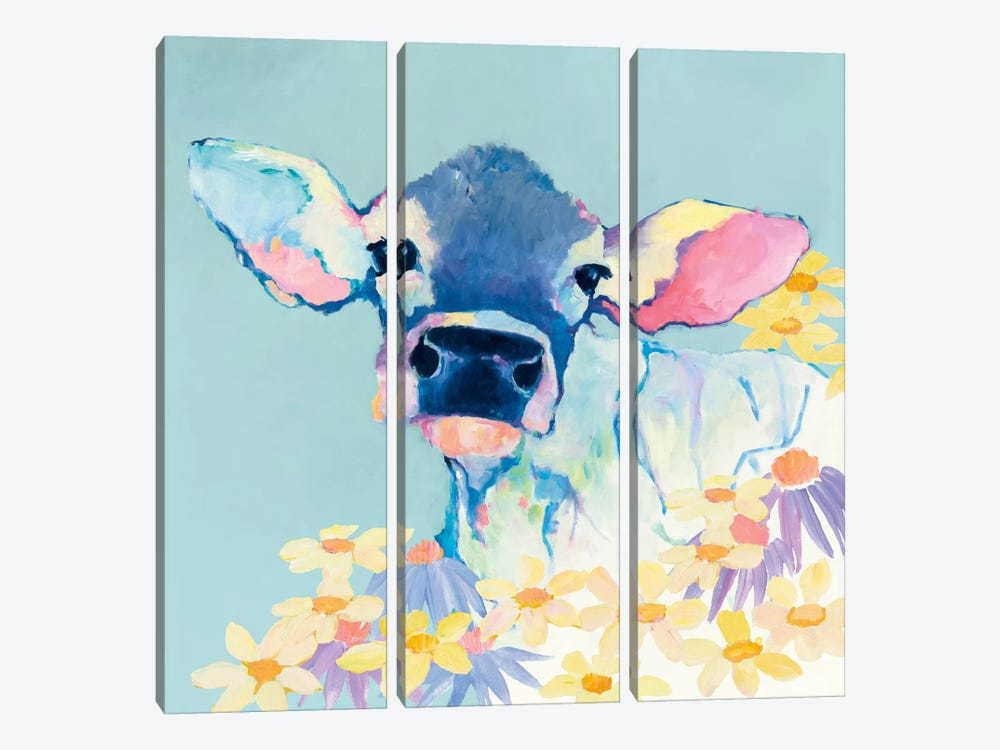 Bessie With Flowers On Teal by Avery Tillmon 3-piece Canvas Artwork