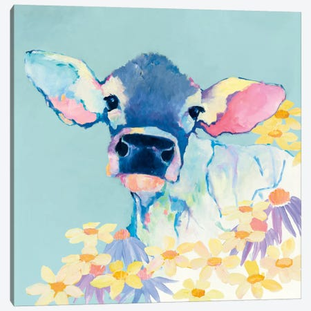 Bessie With Flowers On Teal Canvas Print #WAC8369} by Avery Tillmon Canvas Artwork