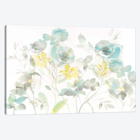Aqua Roses Shadows Canvas Print #WAC8393} by Danhui Nai Art Print