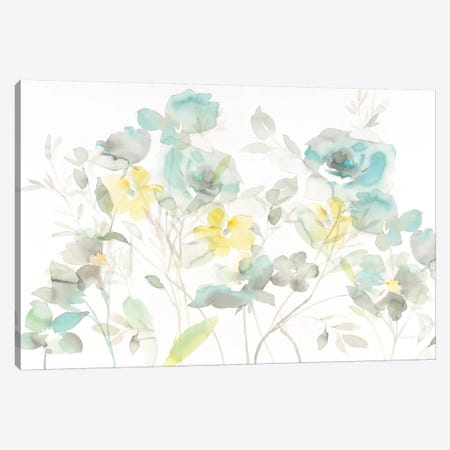 Aqua Roses Shadows Canvas Print #WAC8393} by Danhui Nai Art Print