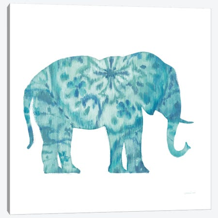 Boho Teal Elephant I Canvas Print #WAC8394} by Danhui Nai Canvas Wall Art