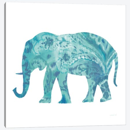 Boho Teal Elephant II Canvas Print #WAC8395} by Danhui Nai Canvas Art