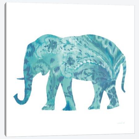 Boho Teal Elephant II Canvas Print #WAC8395} by Danhui Nai Canvas Art