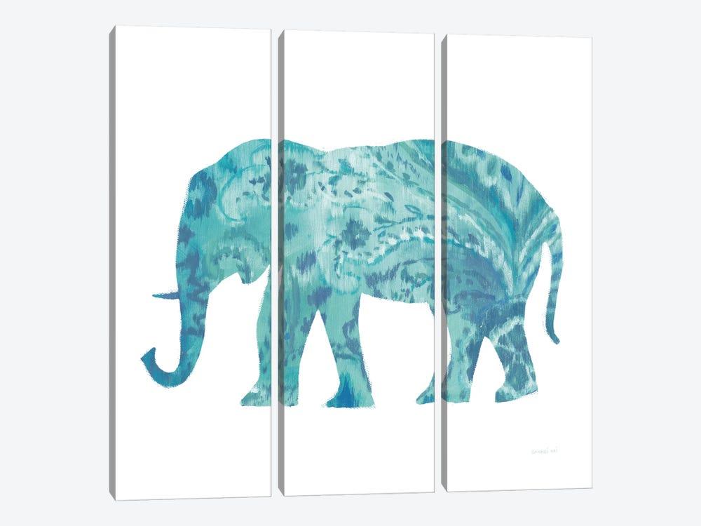 Boho Teal Elephant II by Danhui Nai 3-piece Canvas Print