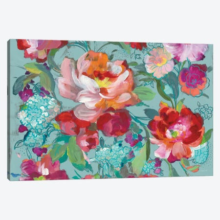 Bright Floral Medley, Turquoise Canvas Print #WAC8396} by Danhui Nai Canvas Artwork