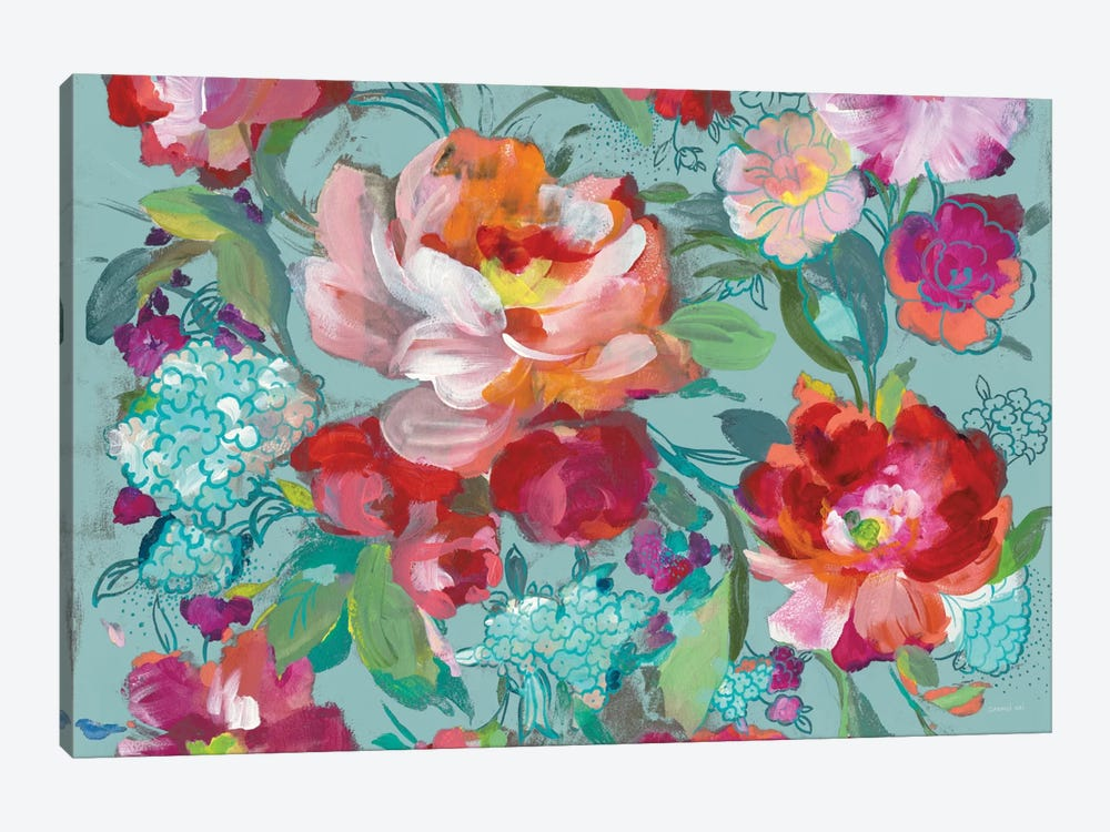 Bright Floral Medley, Turquoise by Danhui Nai 1-piece Canvas Artwork