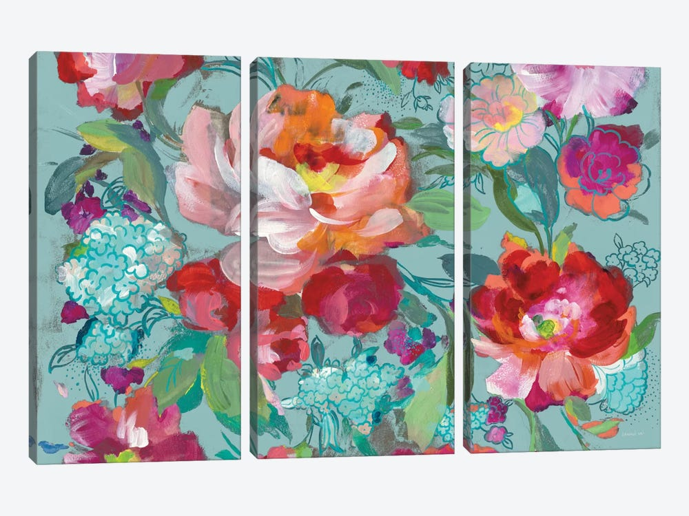 Bright Floral Medley, Turquoise by Danhui Nai 3-piece Canvas Artwork