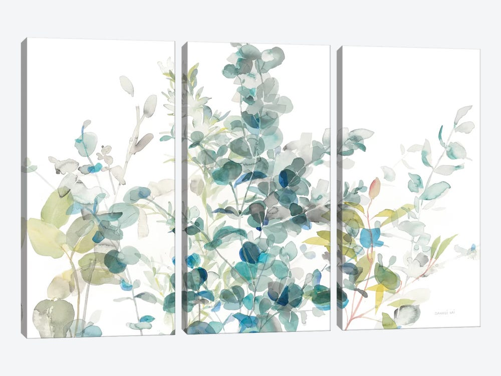 Eucalyptus On White I by Danhui Nai 3-piece Canvas Wall Art