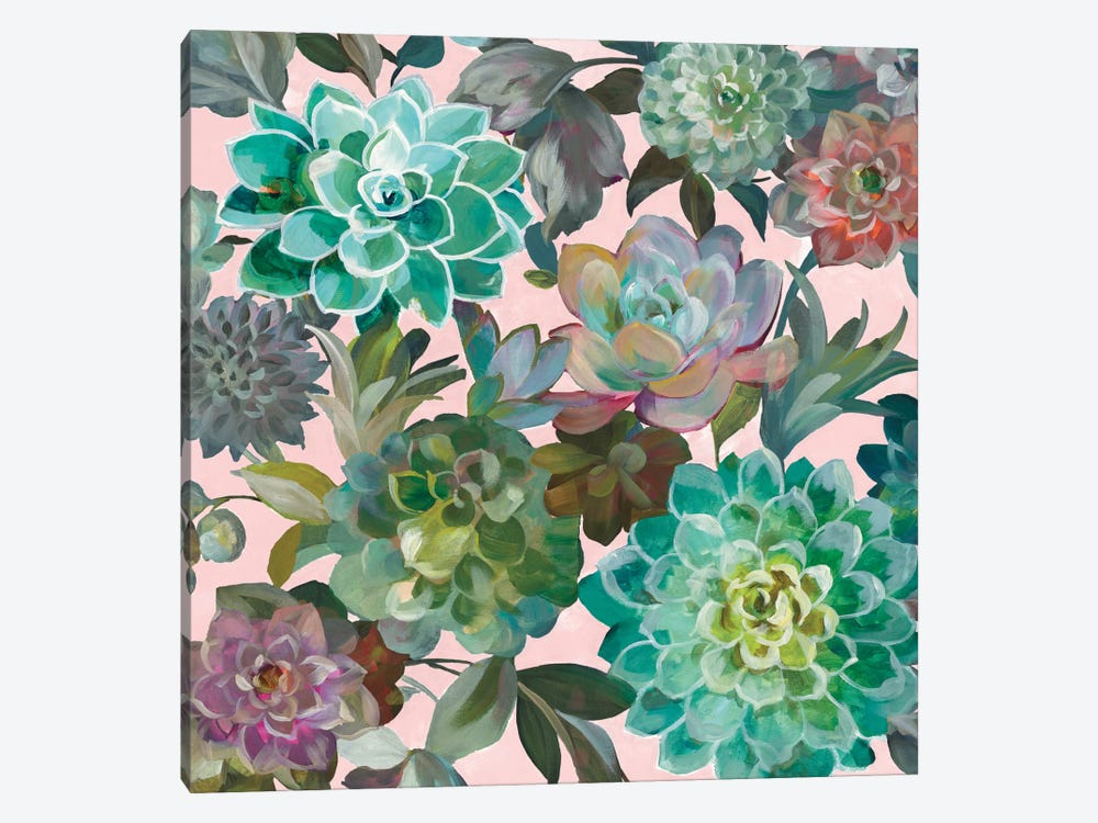 Floral Succulents On Pink 1-piece Art Print