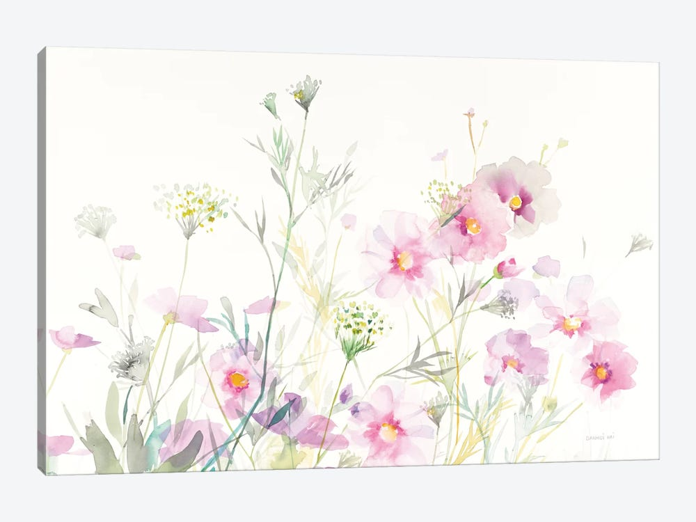 Queen Anne's Lace And Cosmos On White I by Danhui Nai 1-piece Canvas Artwork