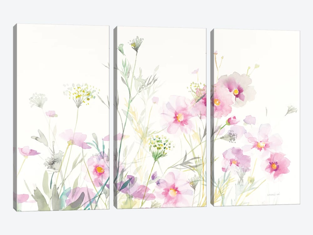 Queen Anne's Lace And Cosmos On White I by Danhui Nai 3-piece Canvas Wall Art