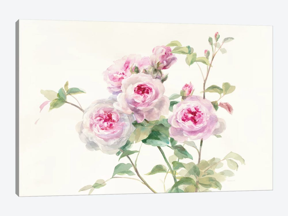 Sweet Roses On White Green by Danhui Nai 1-piece Canvas Print