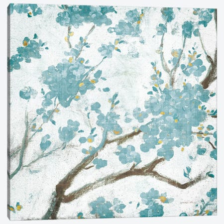 Teal Cherry Blossoms I On Cream Aged, No Bird Canvas Print #WAC8406} by Danhui Nai Canvas Wall Art