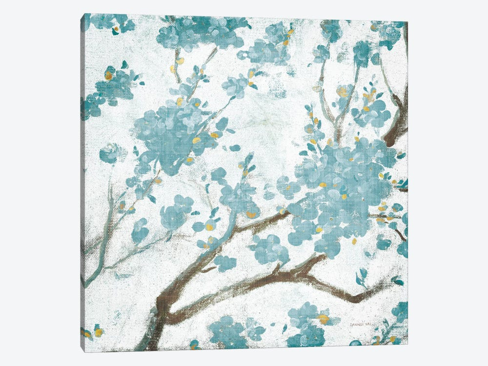 Teal Cherry Blossoms I On Cream Aged, No Bird by Danhui Nai 1-piece Canvas Art