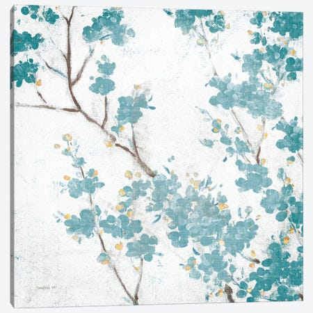 Teal Cherry Blossoms II On Cream Aged, No Bird Canvas Print #WAC8407} by Danhui Nai Canvas Wall Art