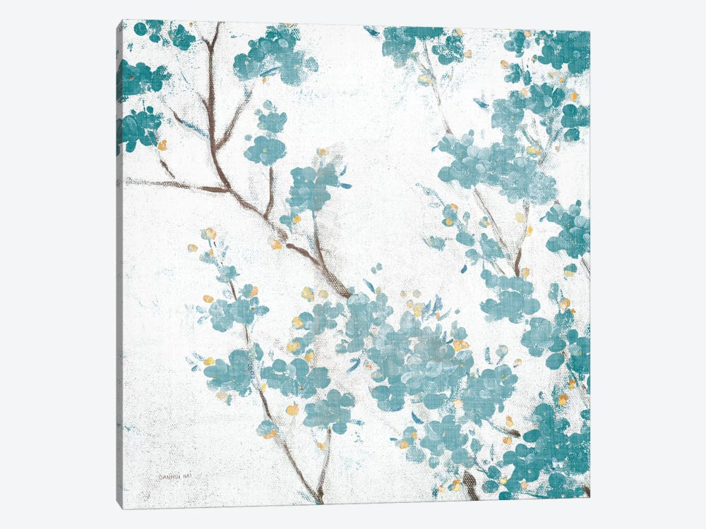 Teal Cherry Blossoms II On Cream Aged, No Bird 1-piece Art Print