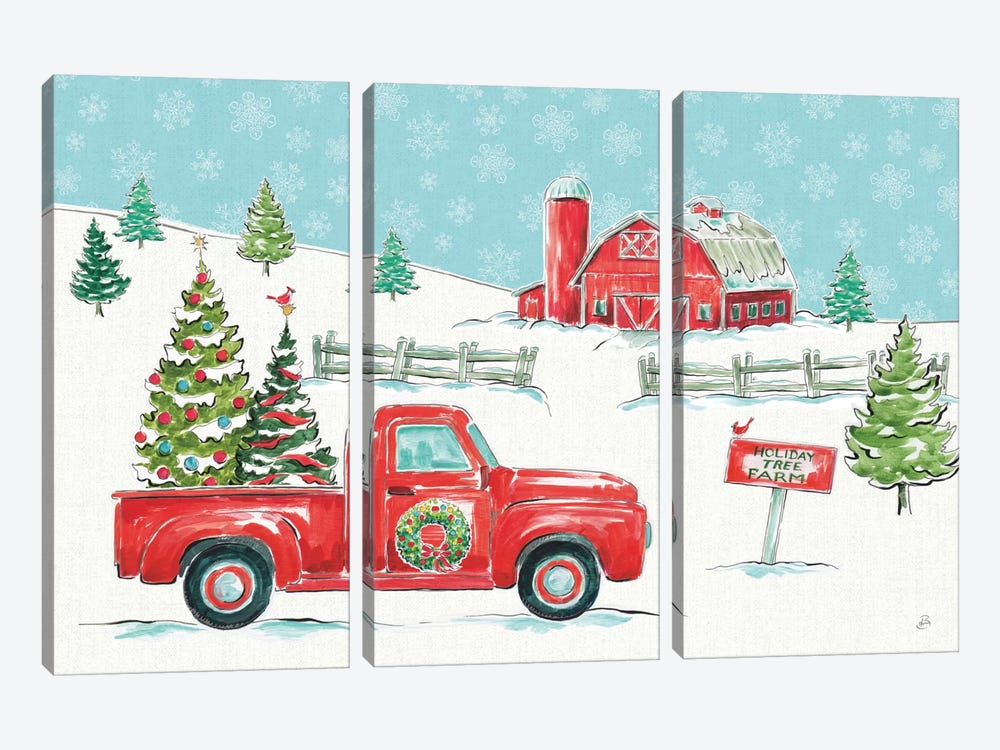 Christmas In The Country I by Daphne Brissonnet 3-piece Canvas Art