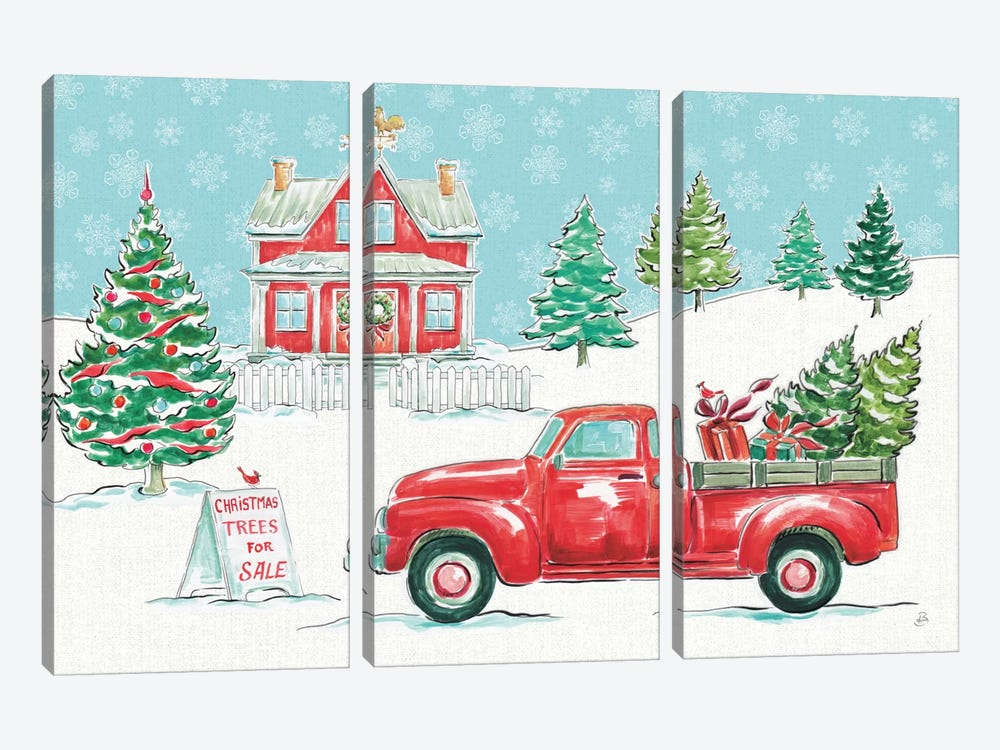 Christmas In The Country II by Daphne Brissonnet 3-piece Canvas Art Print