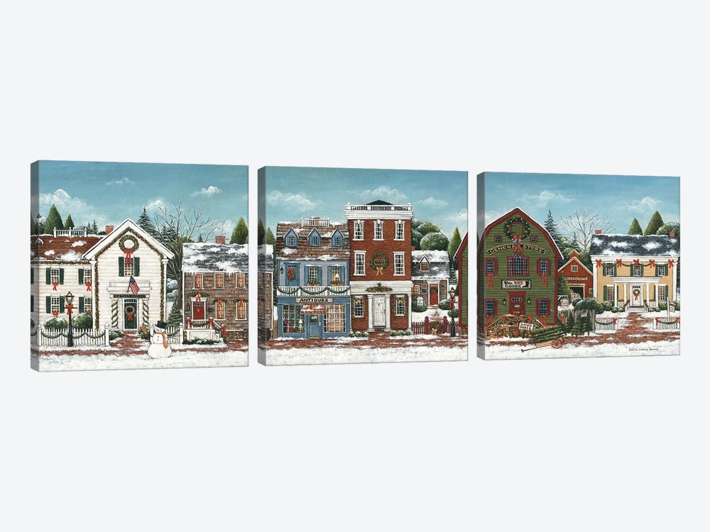 Christmas Village by David Carter Brown 3-piece Canvas Print