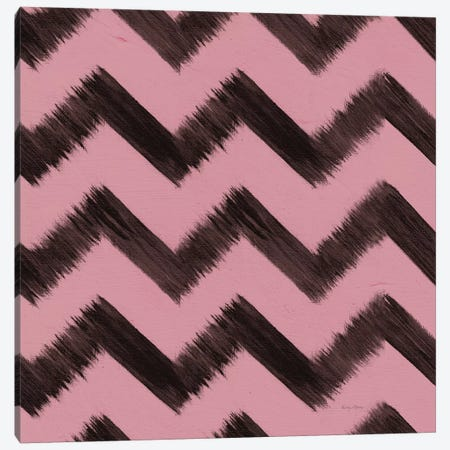 Shoe Fetish Pattern II, Dark Zig-Zags On Pink Canvas Print #WAC8437} by Emily Adams Canvas Print