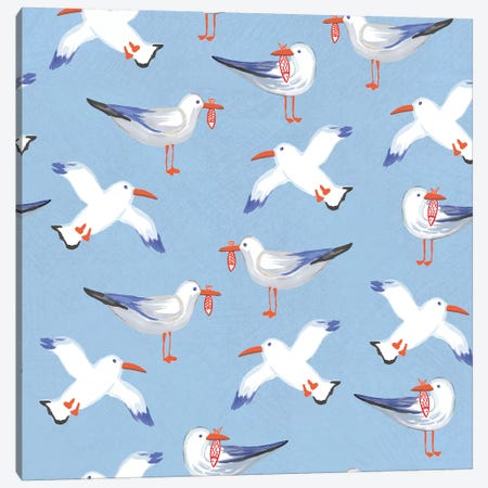 Coastal Birds Pattern II Canvas Print #WAC8443} by Farida Zaman Canvas Art Print