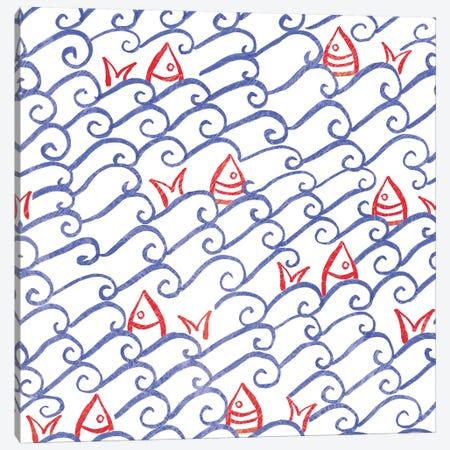 Coastal Birds Pattern V Canvas Print #WAC8445} by Farida Zaman Canvas Artwork