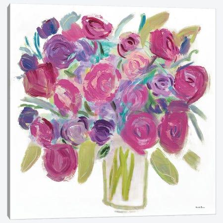 Pink Roses On White Canvas Print #WAC8448} by Farida Zaman Canvas Print