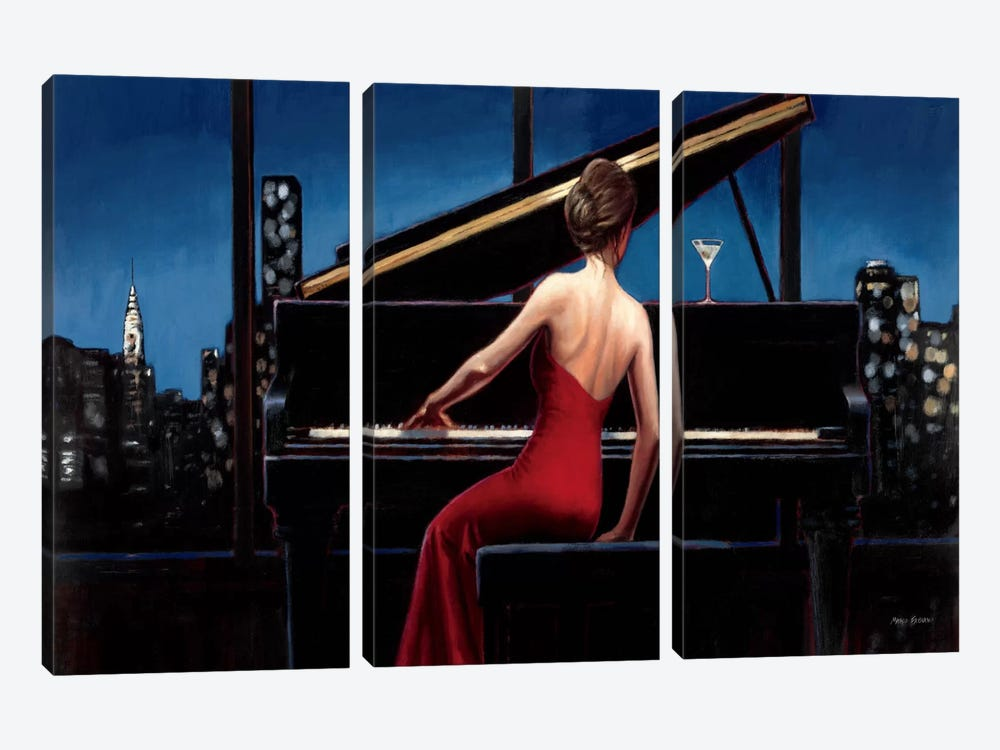 Lady in Red  by Marco Fabiano 3-piece Canvas Wall Art
