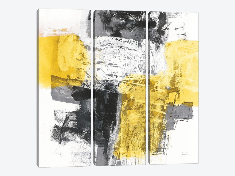 Action I, Yellow And Black by Jane Davies 3-piece Canvas Print