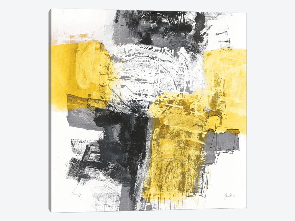 Action I, Yellow And Black by Jane Davies 1-piece Canvas Art Print