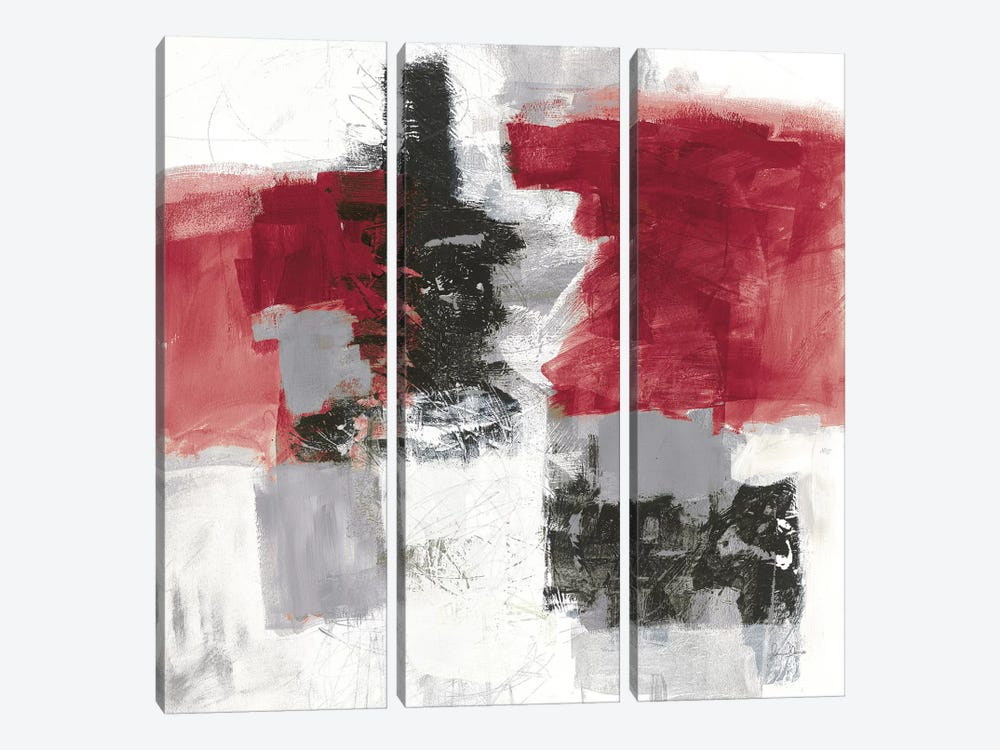 Action II, Red & Black by Jane Davies 3-piece Canvas Wall Art