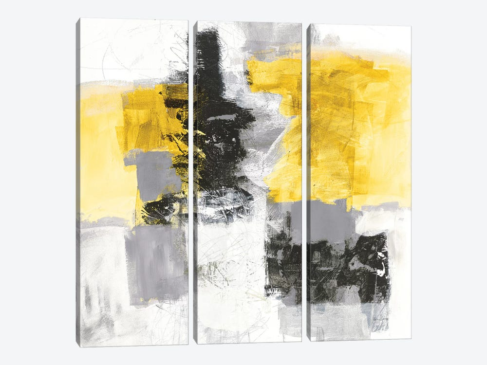 Action II, Yellow And Black by Jane Davies 3-piece Art Print