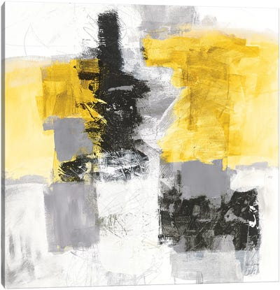 Action II, Yellow And Black Canvas Art Print