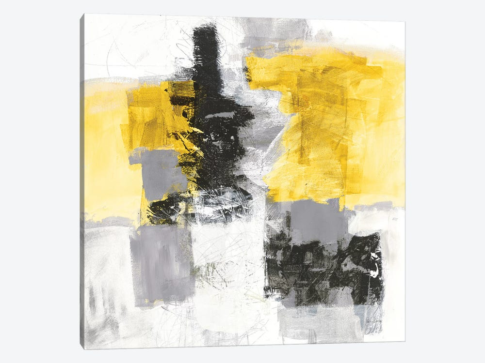 Action II, Yellow And Black by Jane Davies 1-piece Canvas Art Print
