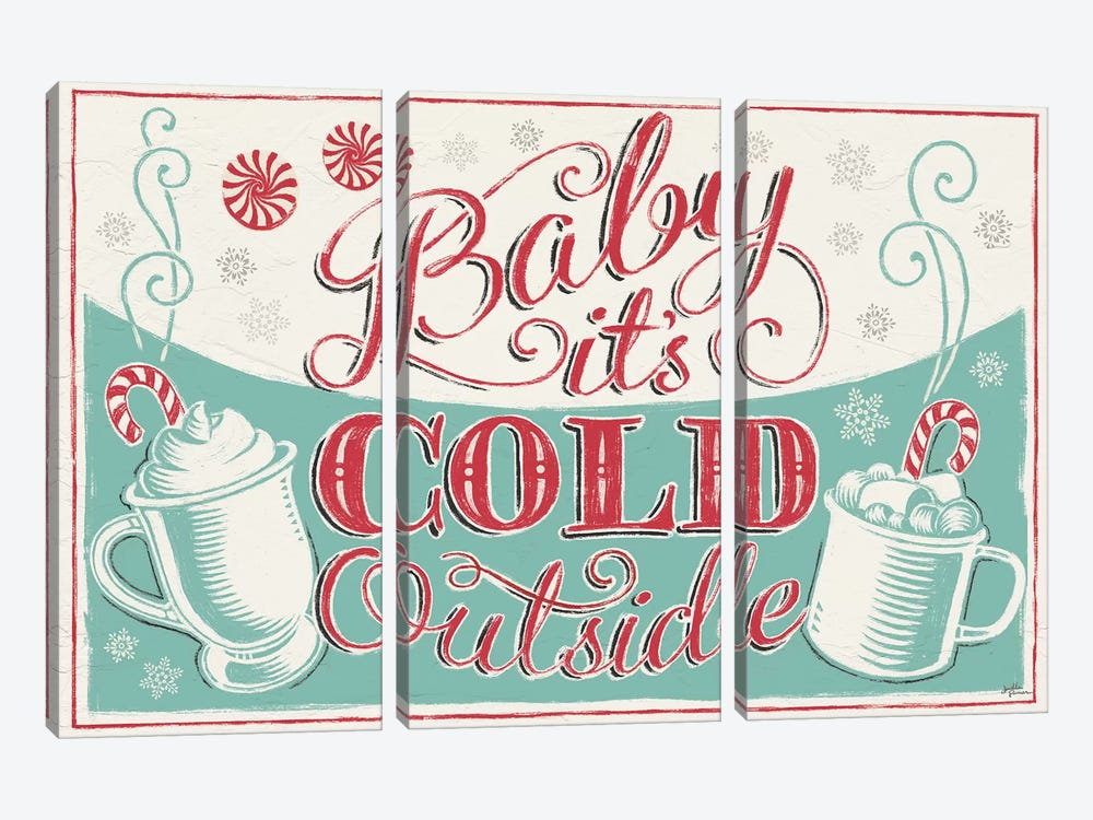 Merry Little Christmas: Baby It's Cold Outside by Janelle Penner 3-piece Canvas Art