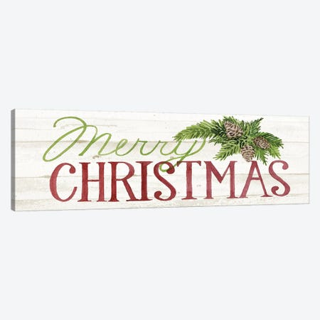 Holiday Sayings On Wood Whitewash I Canvas Print #WAC8488} by Kathleen Parr McKenna Canvas Print