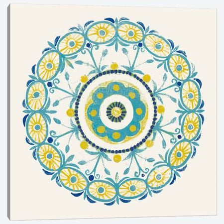Lakai Circle I, Blue And Yellow Canvas Print #WAC8492} by Kathrine Lovell Canvas Artwork