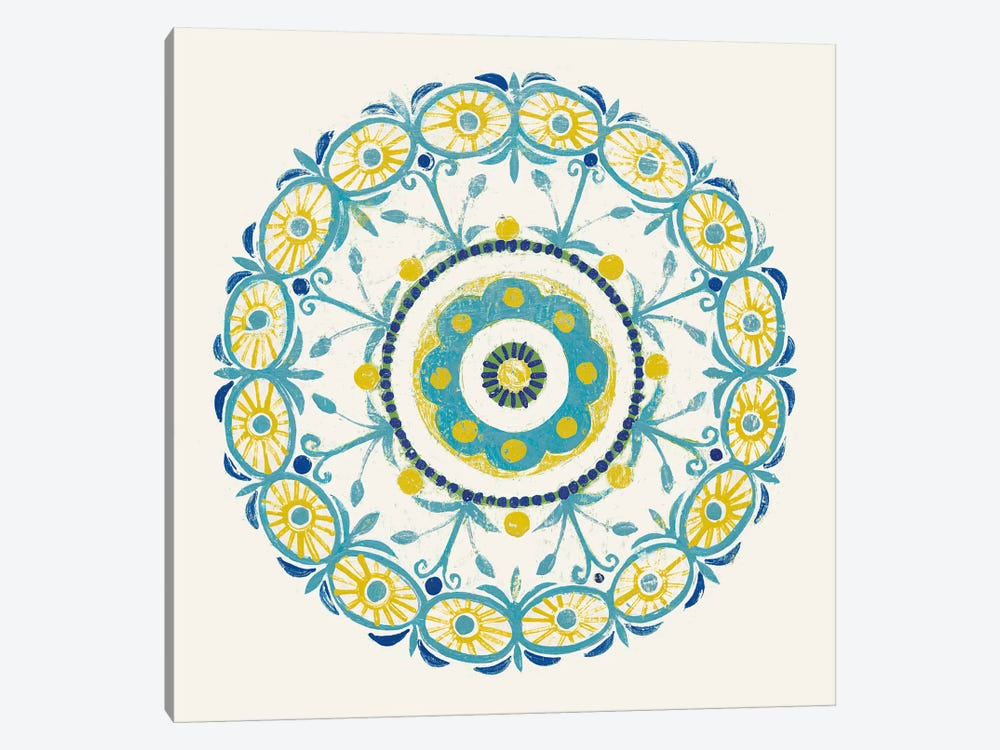 Lakai Circle I, Blue And Yellow by Kathrine Lovell 1-piece Art Print