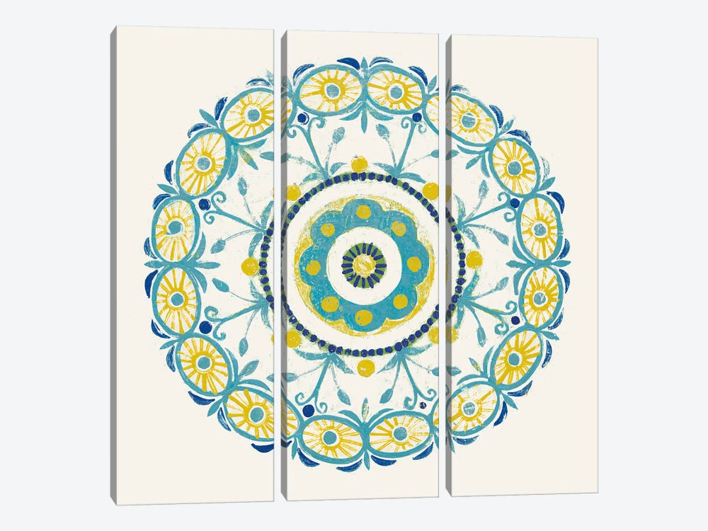 Lakai Circle I, Blue And Yellow by Kathrine Lovell 3-piece Canvas Art Print