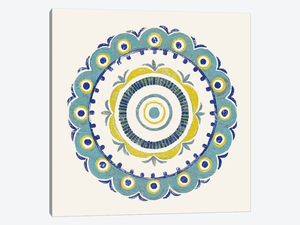 Lakai Circle II, Blue And Yellow by Kathrine Lovell 1-piece Canvas Artwork