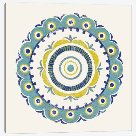 Lakai Circle II, Blue And Yellow Canvas Print #WAC8493} by Kathrine Lovell Canvas Wall Art